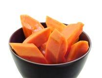 Papaya ripen slided in bowl Stock Photography