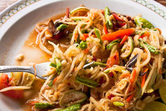 Papaya salad. Delicious thai style food,hot and spicy taste stock photo
