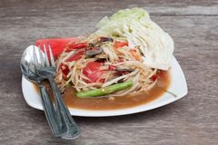 Papaya salad Stock Photography