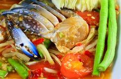 Papaya salad. Green papaya salad with crab and vegetable Stock Images