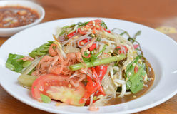 Papaya salad. Thai papaya salad hot and spicy , mixed from variety of vegetable royalty free stock image