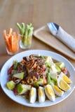 Papaya Salad. With apple, crab and salted egg, famous Thai street food Stock Photos