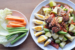Papaya Salad. With apple, crab and salted egg, famous Thai street food Royalty Free Stock Photos