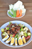 Papaya Salad. With apple, crab and salted egg, famous Thai street food Stock Images