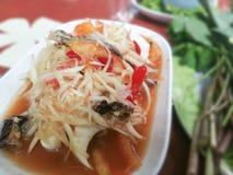 Somtam,thai. Papaya salad as background or wallpaper stock image