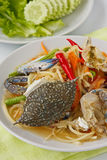 Papaya salad with blue crab. Thai popular dishes, spicy papaya salad with raw blue crab Royalty Free Stock Photography