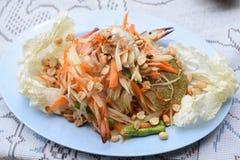 Papaya salad with blue crab. A papaya salad with blue crab Royalty Free Stock Images