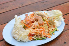 Papaya salad with blue crab. A papaya salad with blue crab Royalty Free Stock Photography