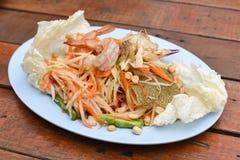 Papaya salad with blue crab. A papaya salad with blue crab Stock Photos