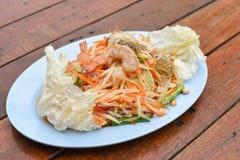 Papaya salad with blue crab. A papaya salad with blue crab Royalty Free Stock Image