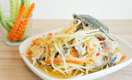 Papaya salad with blue crab. Spicy papaya salad with blue crab, som tum poo ma Stock Image