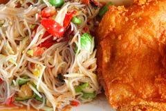 Papaya salad and chicken fried.  stock photography