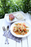 Papaya salad with chicken grilled and sticky rice Royalty Free Stock Image