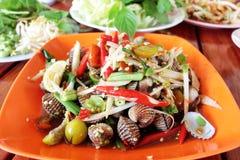 Papaya salad cockle  Royalty Free Stock Images