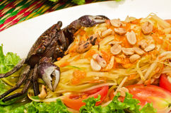Papaya salad with crab Royalty Free Stock Photos