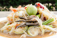 Papaya salad with crab pickled. Thailand food call som tum pu Stock Image