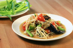 Papaya salad with crab and special souce. Morning glory thai-style somtum stock photo