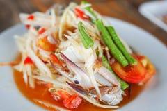 Papaya salad with crab. Thai papaya salad with crab Royalty Free Stock Photos