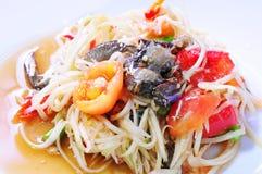 Papaya salad with crab. Thai cuisine, Papaya salad with crab Royalty Free Stock Photography