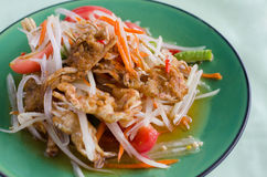 Papaya salad with crab, thai food Royalty Free Stock Photography