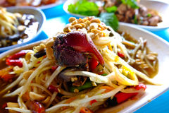 Papaya salad with crab, tomato Stock Photo