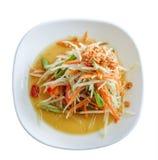 Papaya salad with dired shrimp isolated on white background Stock Photography