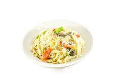 Papaya salad on dish with white paper background Royalty Free Stock Images