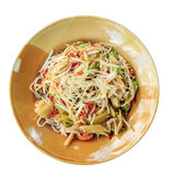 Papaya salad on dish. With white paper background royalty free stock images