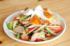 Papaya salad with egg royalty free stock photo