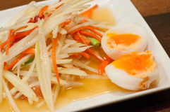 Papaya salad with eggs, somtum thai food Stock Photo