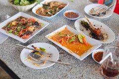 Papaya salad Esan thai menu. Finished eating. Papaya salad Esan thai menu fish grilled, Finished eating Royalty Free Stock Photography