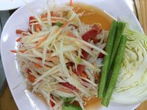 Papaya salad. Is famous food in Thailand royalty free stock photography