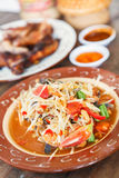 Papaya salad. Thai Food. Famous Thai food, papaya salad or what we called Somtum in Thai Royalty Free Stock Photography