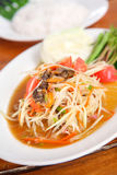 Papaya salad. Thai Food. Famous Thai food, papaya salad or what we called Somtum in Thai Stock Photography