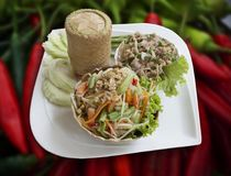 Papaya salad fomous hot and spicy thai food. Traditional Thai food, papaya salad, glutinous rice and pork, mixed with herbs and vegetables that good for health Stock Photography