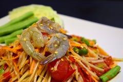 Papaya salad And fresh shrimp royalty free stock photo