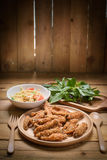 Papaya salad with fried chicken and vegetables. Som Tum, Traditional Thai food Royalty Free Stock Photo