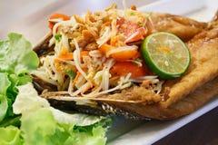 Papaya salad with fried fish Thai cuisine Royalty Free Stock Photos