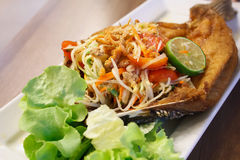 Papaya salad with fried fish Thai cuisine Stock Photography