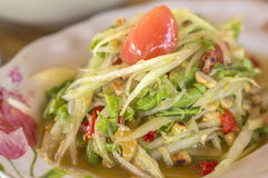 Papaya salad. Green papaya salad with crab, somtum thai food royalty free stock image