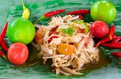 Papaya salad. Green papaya salad and ingredient Royalty Free Stock Photo