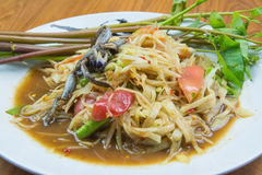 Papaya salad. Green papaya salad ,Thailand national dish salad Stock Images