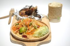 Papaya salad and grilled chicken Royalty Free Stock Image