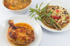 Papaya salad, Grilled Chicken and Spicy pork soup Royalty Free Stock Photography
