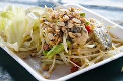 Papaya salad with Horse crab or somtum pooma Royalty Free Stock Photo