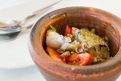 Papaya salad with horse crab thai food Stock Images