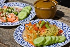 Papaya salad hot and spicy Stock Photos