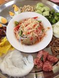 Papaya Salad. A most famous Thai traditional menu, Papaya salad is so spicy and yummy, lots of natural gradients and it's good for healthy Royalty Free Stock Image