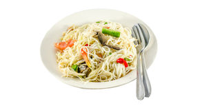 Papaya salad with noodle (Som Tam) Thai cuisine spicy delicious. The Papaya salad (Som Tam) Thai cuisine spicy delicious on white stock photo
