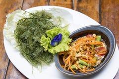 Papaya salad with pepper seaweed Royalty Free Stock Image